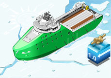 Isometric Icebreaker Ship Breaking the Ice in Front View Stock Image