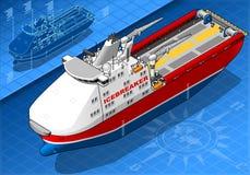 Isometric Icebreaker statek w Frontowym widoku royalty ilustracja