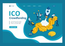 Isometric ICO crowdfunding in the cryptocurrency business have money to invest and start up the project. Template landing page stock illustration