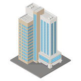 Isometric icon apartment building. Vector isometric icon apartment building city infrastructure, architecture 3d element representing low poly building  for city Stock Image