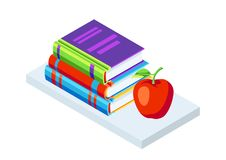 Isometric icon books with apple. Education or bookstore illustration in flat design style Royalty Free Stock Photo