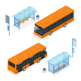 Isometric icon - bus stop and bus. Flat 3d vector illustration of a bus and bus stop. Isometric icon - bus stop.. Public transportation with bus and bus stop Stock Photography
