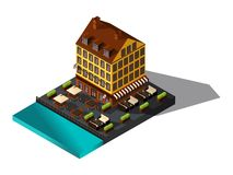 Isometric icon, 3d house by the sea, restaurant, Denmark, Paris, the historic center of the city, the old building royalty free illustration