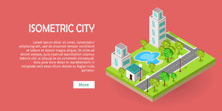Isometric Icon of Luxury Rest sport center with pool. Near road web banner. Building house architecture, street of urban town, map and construction, residential vector illustration