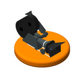 Isometric icon movie camera. Pictograms Video camera. Isolated vector illustration.  Royalty Free Stock Photo