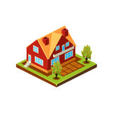 Isometric icon representing modern house with backyard Stock Images