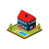 Isometric icon representing modern house with backyard Royalty Free Stock Photo