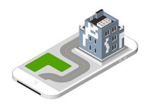 Isometric icon representing modern house with a road standing on the smartphone screen. Urban dwelling Building with a Stock Image