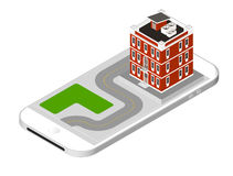 Isometric icon representing modern house with a road standing on the smartphone screen. Urban dwelling Building with a Stock Photography
