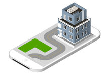 Isometric icon representing modern house with a road standing on the smartphone screen. Urban dwelling Building with a Stock Photos
