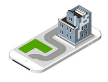 Isometric icon representing modern house with a road standing on the smartphone screen. Urban dwelling Building with a Royalty Free Stock Photography