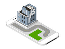 Isometric icon representing modern house with a road standing on the smartphone screen. Urban dwelling Building with a Royalty Free Stock Image