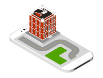 Isometric icon representing modern house with a road standing on the smartphone screen. Urban dwelling Building with a Royalty Free Stock Photo