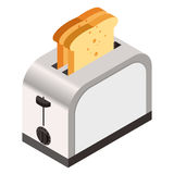 Isometric icon of a  toaster with bread Royalty Free Stock Photography