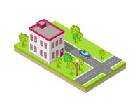 Isometric Icon of Two Storey House Near Road. Isometric icon of two storey house near the road. Building house architecture, street of urban town, map and Stock Image