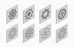 Isometric icons with abstract symmetric symbols. Flat 3D tiles, geometric logos, isolated on light gray background. Vector illustration royalty free illustration