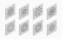 Isometric icons with abstract symmetric symbols. Flat 3D tiles, geometric logos, isolated on light gray background. Vector illustration vector illustration