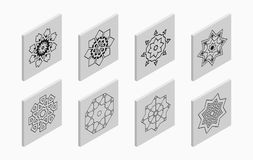 Isometric icons with abstract symmetric symbols. Flat 3D tiles, geometric logos, isolated on light gray background. Vector illustration stock illustration