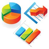 Isometric icons of charts Stock Photography