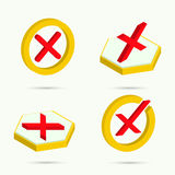 Isometric icons. Collection of four icons cancel. Vector illustration stock illustration