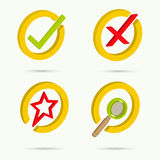 Isometric icons. Collection of four icons. Confirmation. Cancellation. Star. Search. Vector illustration royalty free illustration
