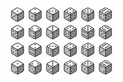 Isometric icons of 3d dice set Royalty Free Stock Photos