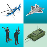 Isometric icons helicopter, aircraft, tank, soldiers. Flat 3d vector high quality military vehicles machinery transport. Royalty Free Stock Image