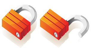 Isometric icons of locks Stock Image