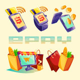 Isometric icons of mobile phones, laptop, wristwatches showing the ease and convenience of online payments Stock Photo