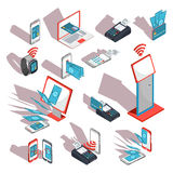 Isometric icons of mobile phones, laptop, wristwatches showing the ease and convenience of online payments Stock Photography