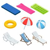 Isometric icons set of Beach elements and objects. Isolated Vector Illustration. Beach umbrellas, sunbeds, chairs, games. Air mattress for swimming and beach Stock Photos