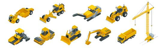 Isometric icons set of construction equipment and machinery with trucks crane and bulldozer. Isolated vector Building. Machines for construction illustration on vector illustration