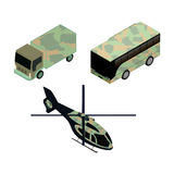 Isometric icons set of military vehicles. For game design and infographics Stock Images