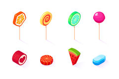 Isometric icons set of sweet lollipops. Isolated on white background vector illustration vector illustration