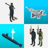Isometric icons submarine, aircraft, tanks, soldiers. Flat 3d high quality military vehicles machinery transport. Royalty Free Stock Image