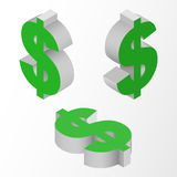 Isometric icons of symbol dollar currency. Vector. Symbols dollar currency. Isometric icons on white background. Vector 3d illustration Stock Photos