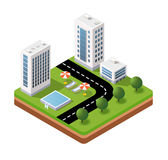 Isometric icons travels. 3D isometric icons travels with landscape the hotel and the parasols Royalty Free Stock Photo