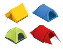 Isometric ikona ustawiająca turystyczni namioty Mieszkania 3d isometric ilustracja Dla infographics i projekta gier Fotografia Stock