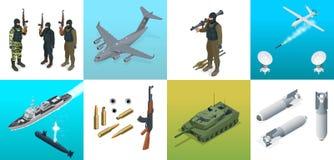 Isometric ikony łodzie podwodne, samolot, żołnierze Set militarnego wyposażenia pojazdów wojskowych płaski wysokiej jakości trans royalty ilustracja