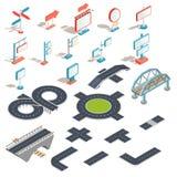 isometric ikony billboardy, reklamowi sztandary, drogowi znaki, kierunków znaki, drogowe sekcje ilustracji