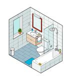 Isometric illustration of bathroom. Hand drawn interior view. Each element on a different layer so you can move them around