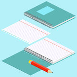 Isometric illustration on a blue background with the image of notebook, pencil, open spiral notebook and lined paper. Vector illus Stock Photo