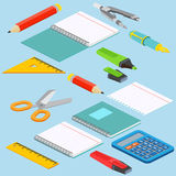 Isometric illustration on a blue background with the image ruler Stock Photos