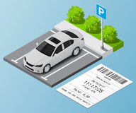 Isometric  illustration Car in the parking lot and Parking tickets. Royalty Free Stock Image