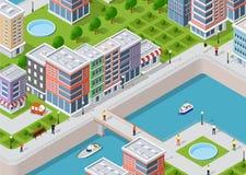 Isometric illustration of a city stock illustration