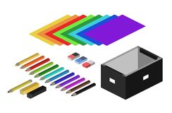 Isometric illustration of colorful office supplies Royalty Free Stock Photography