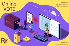 Isometric illustration concept. Group of people give online vote and remove the ballot box. royalty free illustration