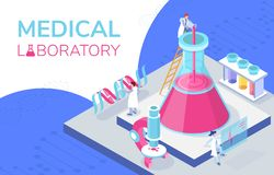 Colorful isometric illustration of a medical laboratory. This isometric illustration depicts a medical laboratory in which medical workers work, next to them is stock illustration