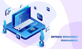 Isometric illustration of desktop with different programing lang Royalty Free Stock Photography
