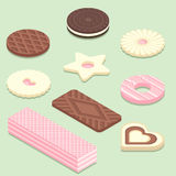 Isometric illustration of different biscuits. Sweet bakery products isolated on pastel green background stock illustration